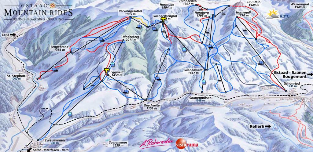 Zweisimmen-Ski-Piste-Map